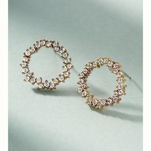 Anthropologie Wreath Crystal & Gold Post Earrings